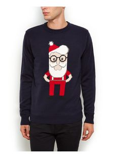 Navy Santa Christmas Jumper  | New Look