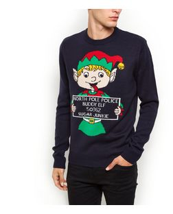 Navy Buddy Elf Christmas Jumper | New Look