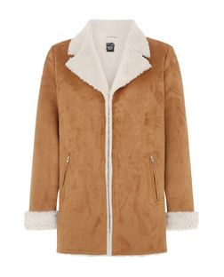 Teens Tan Faux Shearling Lined Longline Jacket  | New Look