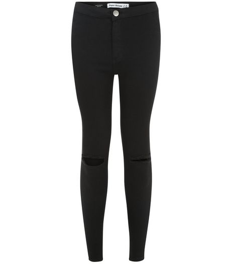 Petite 28in Black Ripped Knee High Waist Super Skinny Jeans  | New Look