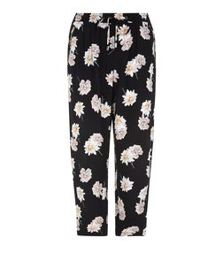 Black Floral Print Cropped Trousers  | New Look