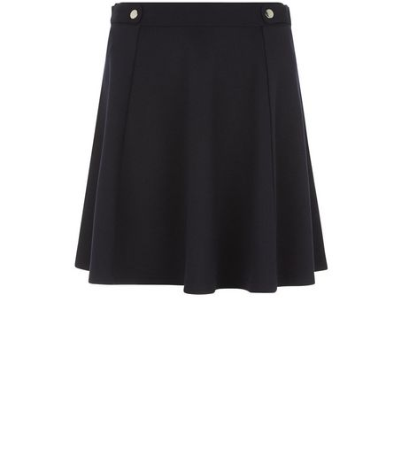 Navy Tab Side Skater Skirt  | New Look
