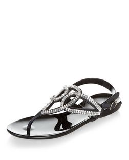 Black Embellished Swirl Strap Sandals  | New Look