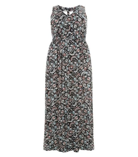 Curves Black Floral Print Cut Out Back Maxi Dress | New Look