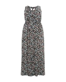 Plus Size Black Floral Print Cut Out Back Maxi Dress | New Look