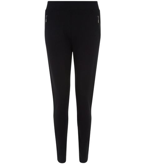 Black Double Zip Side Leggings  | New Look