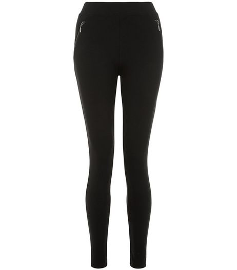 Black Double Zip Short Length Leggings  | New Look