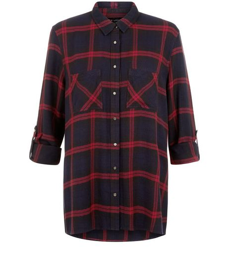 Black Check Pocket Front Dip Hem Shirt  | New Look