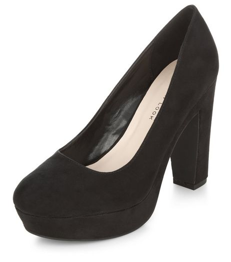Wide Fit Black Platform Court Shoes  | New Look