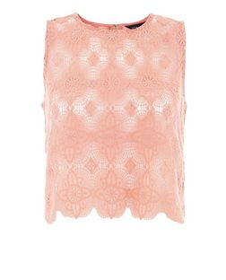 Pink Guipure Lace Zip Back Crop Top  | New Look