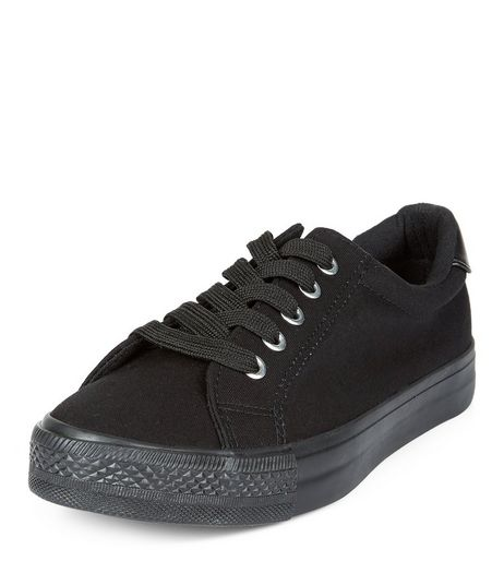 Teens Black Lace Up School Plimsolls  | New Look