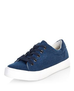 Teens Navy Lace Up Plimsolls  | New Look