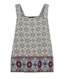 White Tile Print Square Neck Cami  | New Look