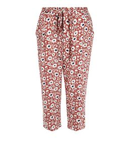 Pink Ditsy Floral Print Cropped Trousers  | New Look