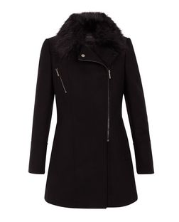 Black Faux Fur Collar Longline Biker Coat  | New Look