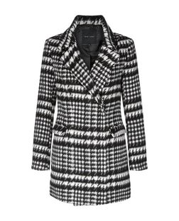Black Houndstooth Coat | New Look