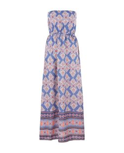 Petite Purple Tile Print Bandeau Maxi Dress | New Look