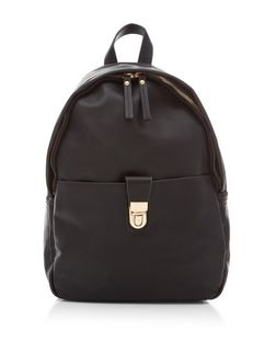 Black Push Lock Backpack  | New Look