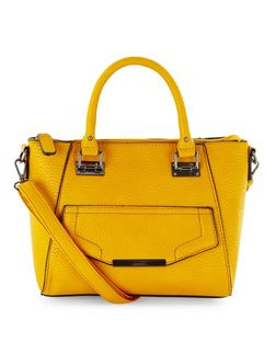 Yellow Pocket Front Mini Tote Bag  | New Look