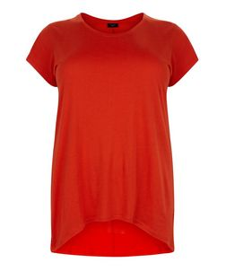 Curves Orange Dip Hem T-Shirt | New Look