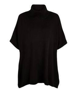 Black Roll Neck Short Sleeve Jumper | New Look