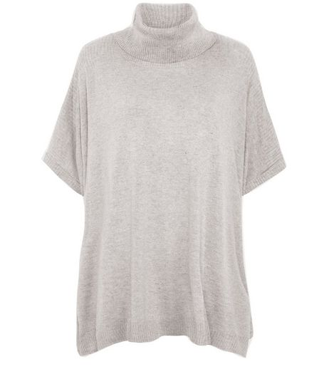 Grey Roll Neck Short Sleeve Jumper  | New Look