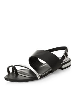 Black Metal Strap Sling Back Sandals  | New Look