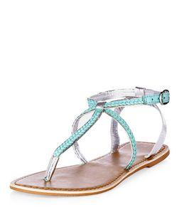 Mint Green Leather Plaited Strap Sandals | New Look