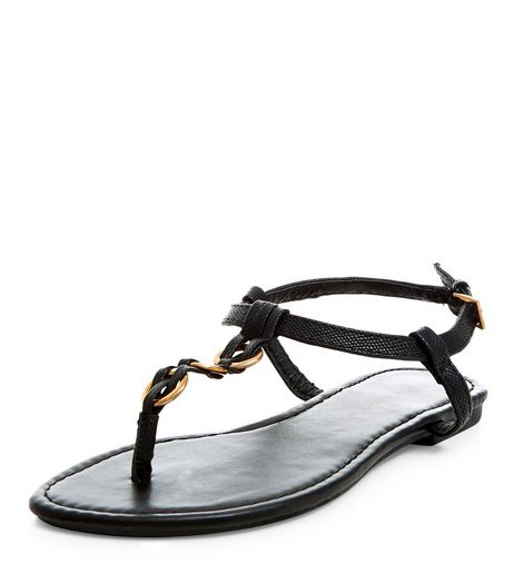 Black Woven Hoop Sandals | New Look