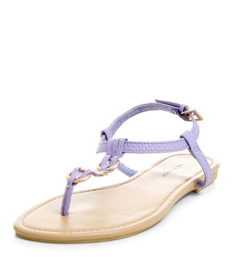 Lilac Woven Hoop Sandals  | New Look
