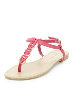 Bright Pink Woven Hoop Sandals | New Look