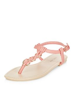 Coral Woven Hoop Sandals | New Look