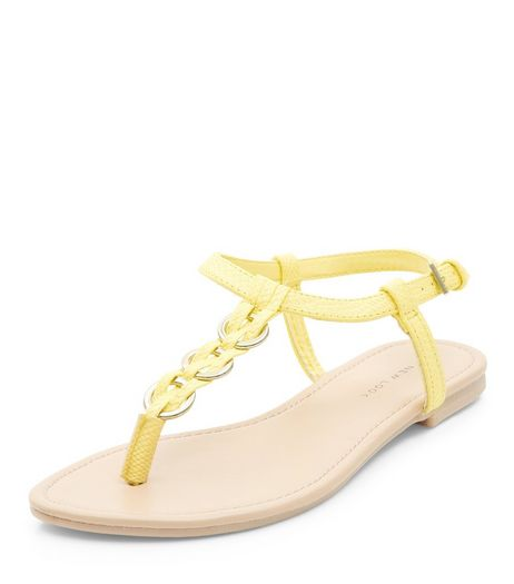 Yellow Woven Hoop Sandals | New Look