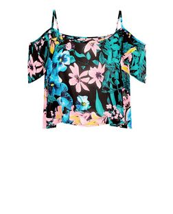 Parisian Black and Neon Floral Print Cold Shoulder Top | New Look