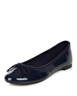 Navy Patent Ballet Pumps | New Look