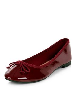 Burgundy Patent Ballet Pumps | New Look
