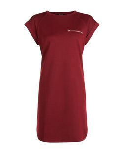 Burgundy Zip Pocket T-Shirt Dress | New Look