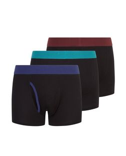 3 Pack Black Contrast Trim Boxer Shorts  | New Look