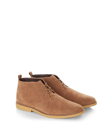 Stone Suedette Desert Boots  | New Look