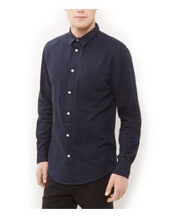 Navy Twill Long Sleeve Shirt  | New Look