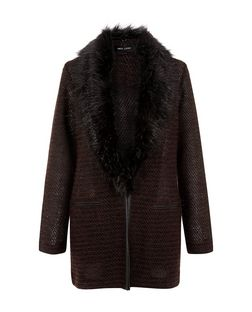 Burgundy Faux Fur Collar Jacket | New Look