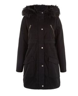 Black Longline Faux Fur Trim Hooded Parka  | New Look
