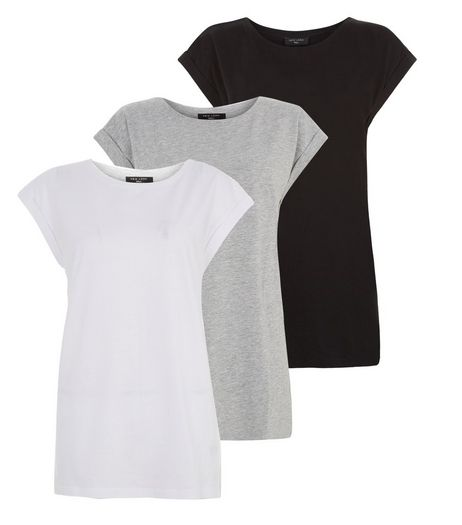 Tall 3 Pack White Grey and Black Boyfriend T-Shirts  | New Look