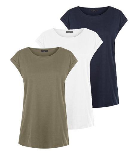 Tall 3 Pack Green White and Navy Boyfriend T-Shirts | New Look