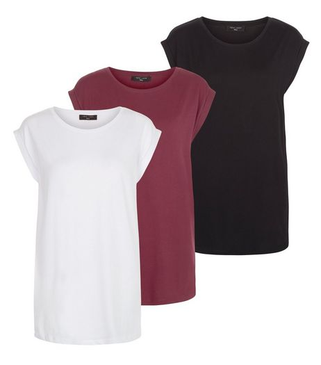 Tall 3 Pack Red White and Black Boyfriend T-Shirts  | New Look