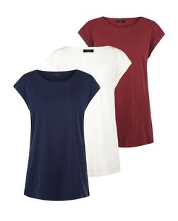 Tall 3 Pack Navy Cream and Burgundy Boyfriend T-Shirts  | New Look