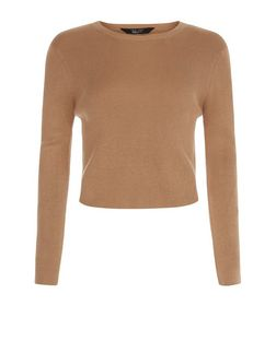 Teens Camel Ribbed Long Sleeve Crop Top  | New Look