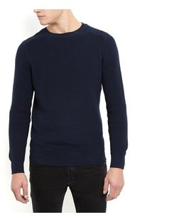 Navy Ribbed Jumper  | New Look