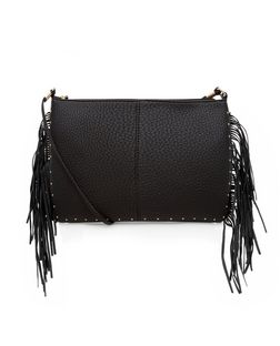 Black Fringed Stud Trim Across Body Bag  | New Look