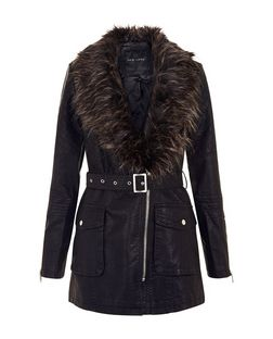 Black Leather-Look Faux Fur Collar Belted Jacket  | New Look